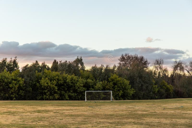 Soccer field in the countryside stock photo