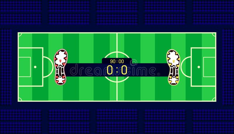 Soccer field. football boots different team match show name bar time and score on center point. a goal in front of fan club chair. Beautiful color background vector illustration