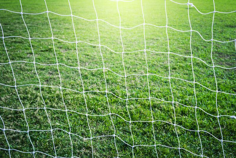Soccer field grass. Behind Goal post royalty free stock images