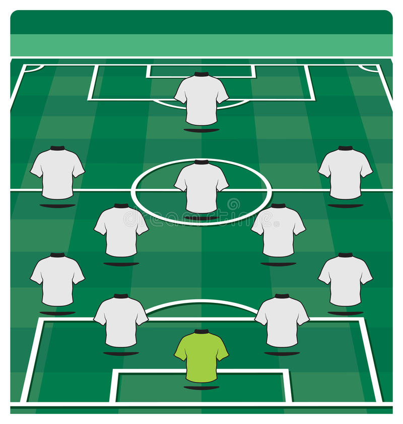 Soccer field layout with formation. Vector illustration of the Soccer field layout with formation stock illustration