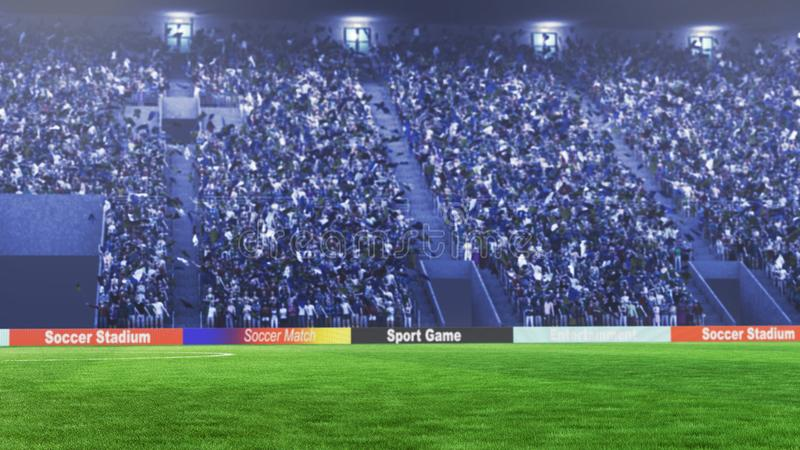 Soccer field with lights and spectors panorama 3d rendering royalty free stock image