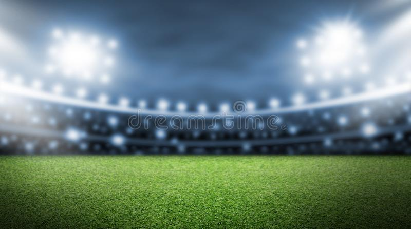 Soccer field and spotlight background in the stadium. With copy space royalty free stock image