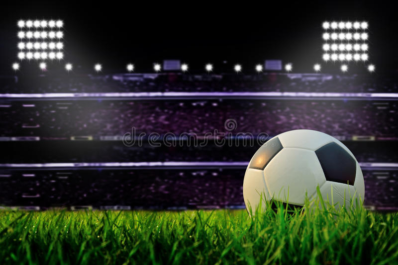 Soccer field and stadium. stock photo