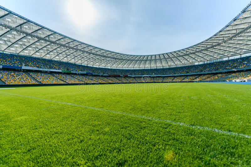 Soccer field stadium and stadium seats stock photography