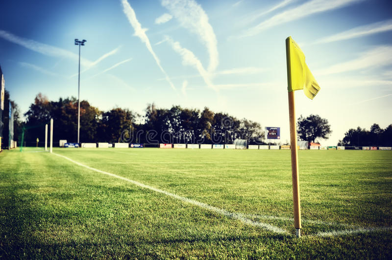 Soccer field at summer day (football field) royalty free stock image