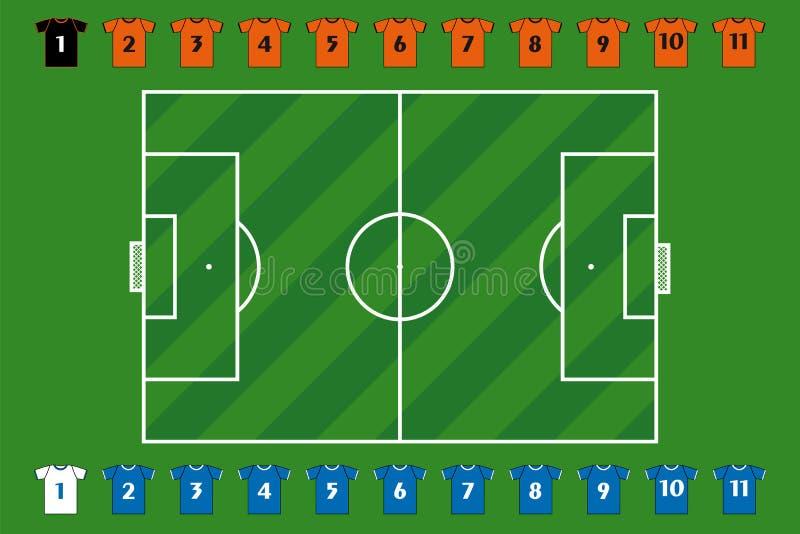 Soccer field and team stock illustration