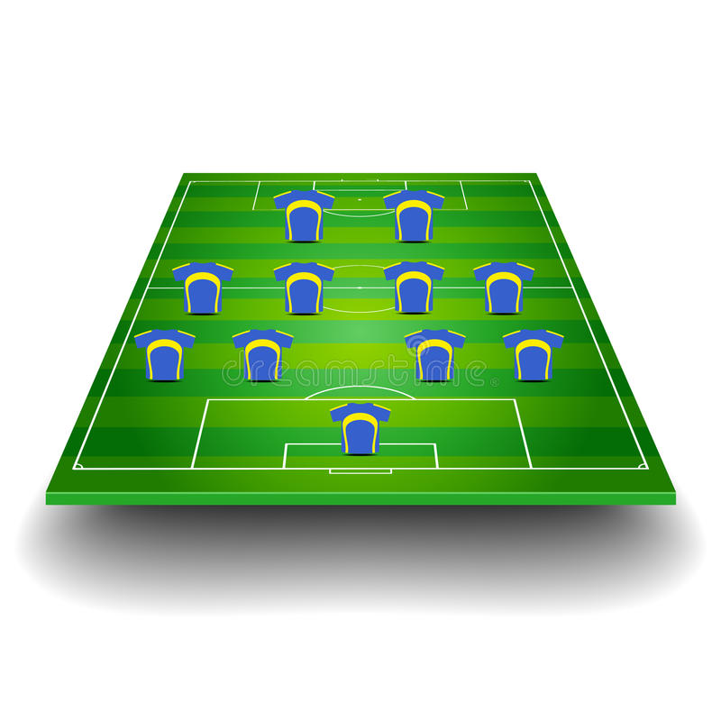 Download Soccer Field With Team Formation Stock Vector - Illustration: 37247250