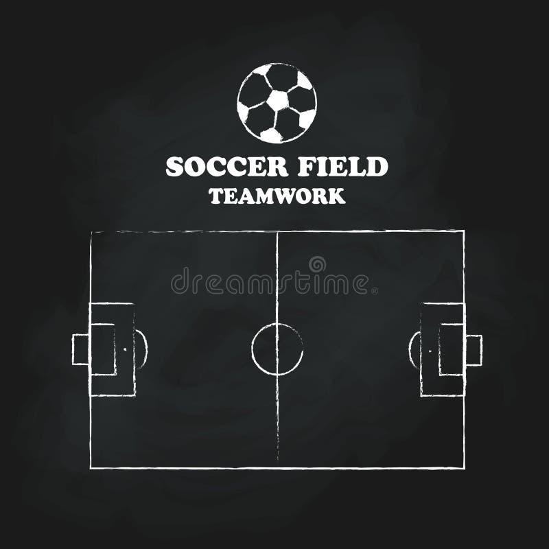 Soccer field vintage hand drawn blackboard vector illustration. Soccer field team work vintage hand drawn blackboard vector illustration royalty free illustration