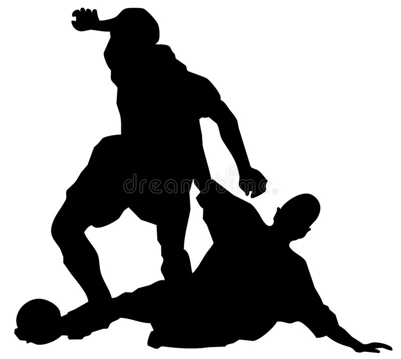 Soccer figures. Two vector figures soccer players royalty free illustration