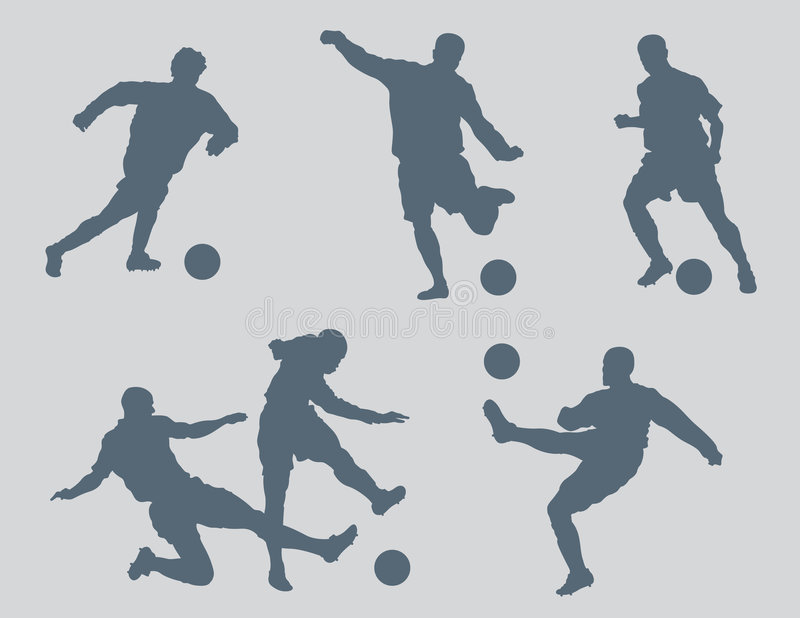 Soccer Figures Vector 2. Six soccer figures created in Adobe Illustrator. These silhouettes are very detailed. You will not be disappointed with the quality royalty free illustration
