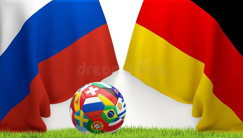 soccer flags ball flag of Russia and flag of Germany 3D illustration vector illustration