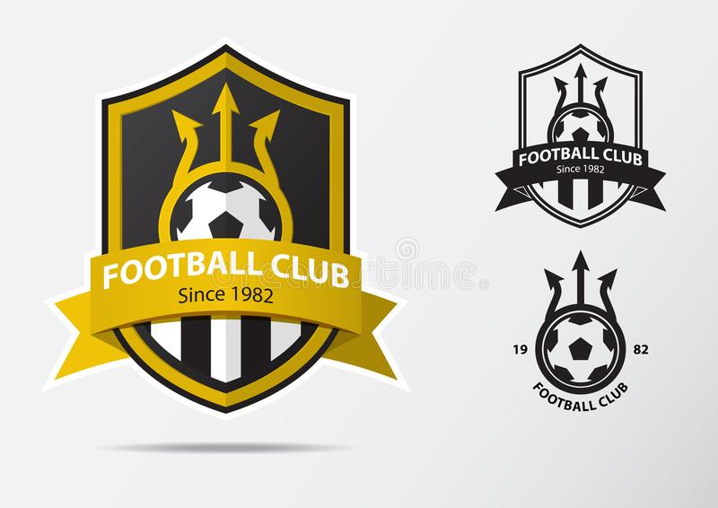 Soccer or Football Badge Logo Design for football team. Minimal design of golden fork and golden ribbon. Football club logo in black and white icon. Vector royalty free illustration
