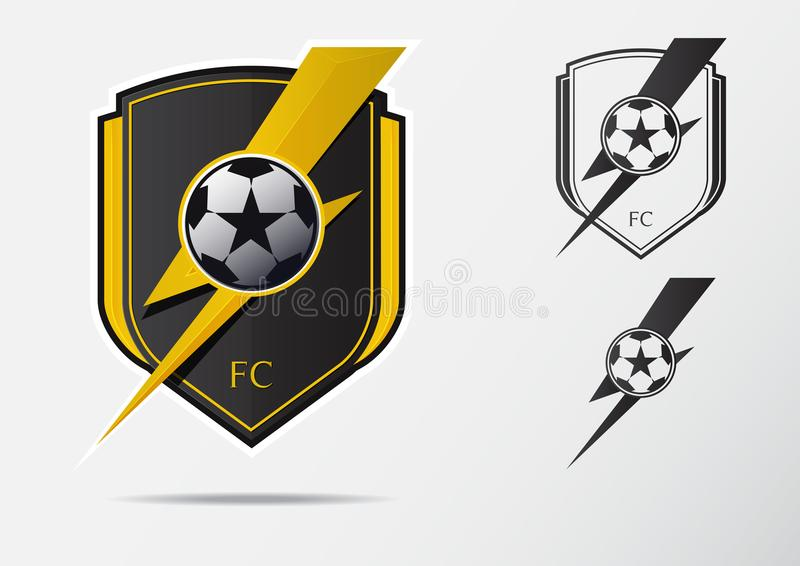 Soccer or Football Badge Logo Design for football team. Minimal design of golden thunderbolt and black and white soccer ball. stock illustration