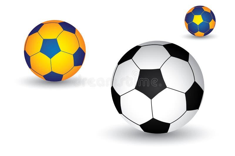 Soccer(football) ball in black/white & color stock illustration