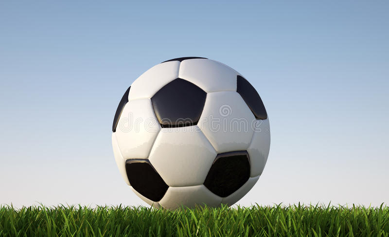 Soccer/football ball close -p on grass lawn. stock illustration
