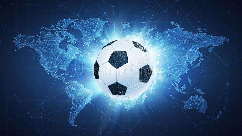 Soccer football ball flying on map background. royalty free illustration