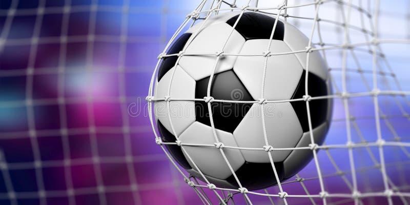 Football soccer ball in goal, blue background. 3d illustration stock illustration