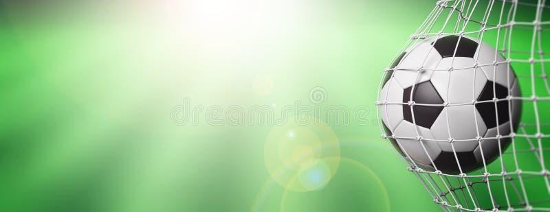 Football soccer ball in goal, green field background. 3d stock illustration