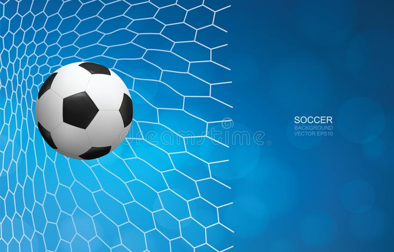 Soccer football ball in goal and soccer net with light blurred bokeh background. Soccer football ball in goal and soccer net with light blurred bokeh background vector illustration