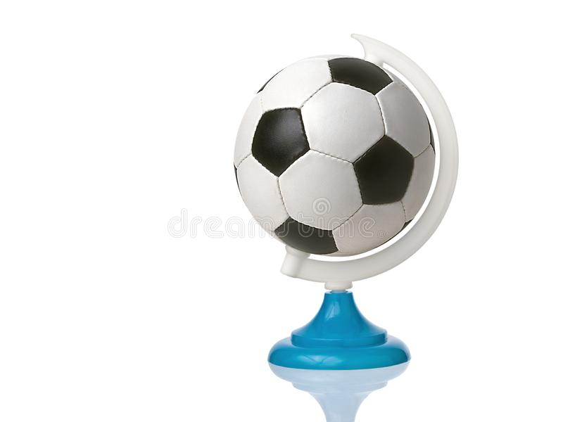 Soccer or football ball in place of earth planet globe isolated royalty free stock images