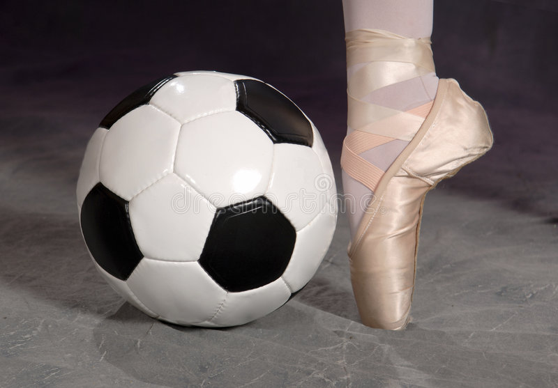 Soccer - Football and Ballet Shoe royalty free stock photos