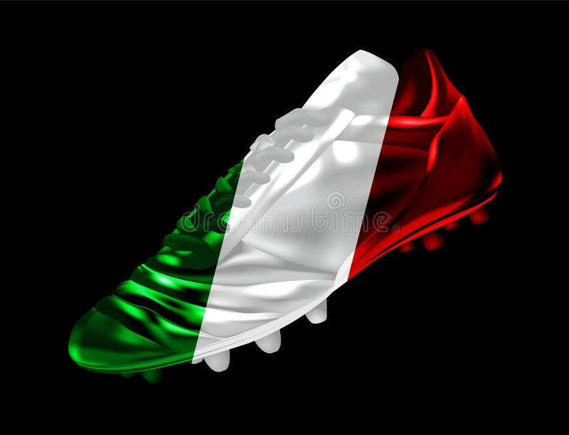 Soccer football boot with the flag of Italy printed on it stock illustration