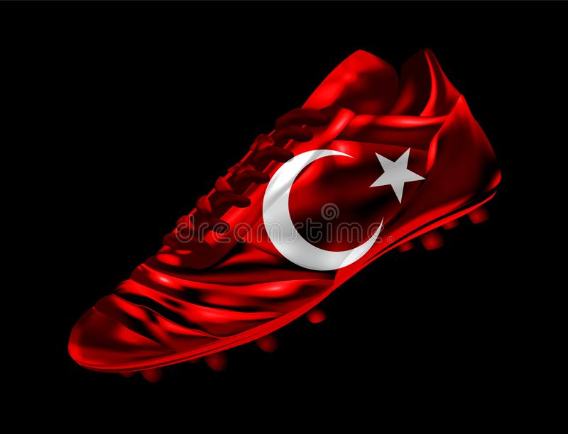Soccer football boot with the flag of Turkey printed on it stock illustration
