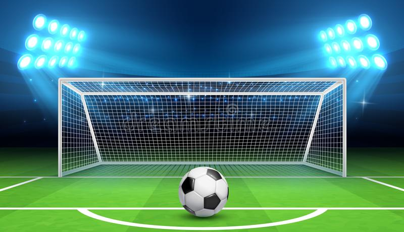 Soccer football championship vector background with sports ball and goals. Penalty kick concept royalty free illustration