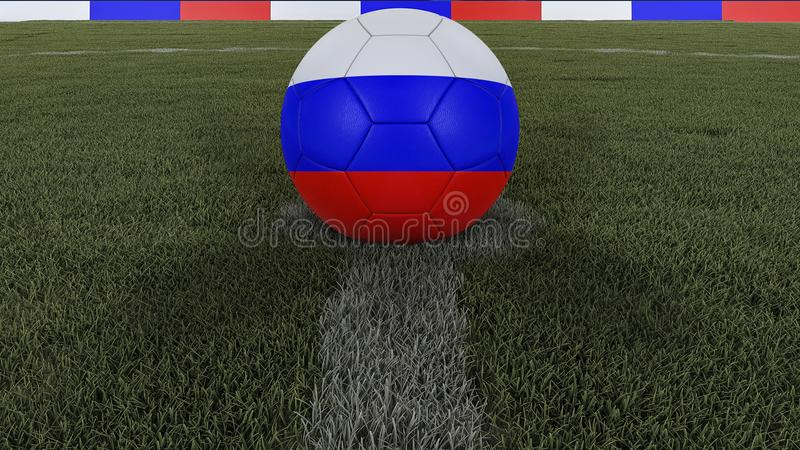 Soccer / football classic ball in the center of the field grass with painting of the Russia flag with focus on the whole field, 3D stock illustration