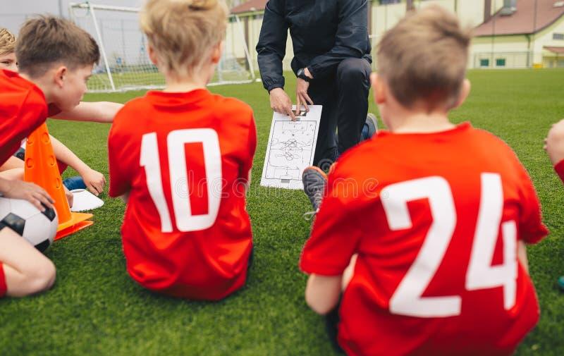 Soccer Football Coach Coaching Children. Youth Soccer Coach Coaching Children. Boys Soccer Players Listening Coaches Tactics and Motivational Talk Speech royalty free stock photos
