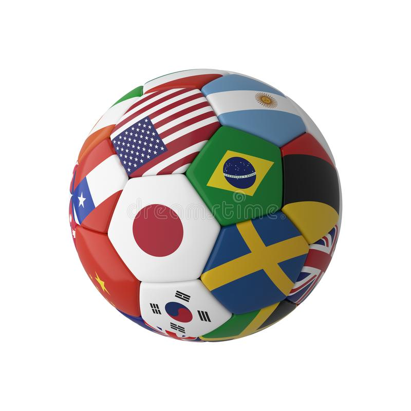 Soccer football with country flags isolated on white background. World championship. 3d illustration royalty free illustration