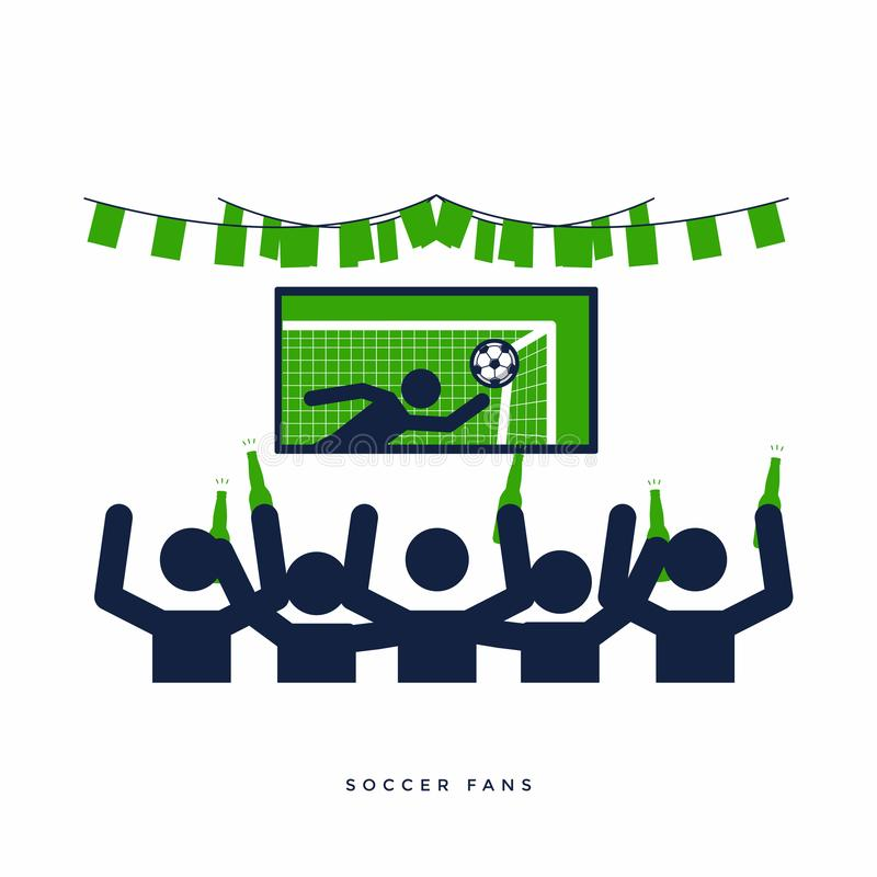 Soccer Or Football Fans With Beer Bottle Watching Live Football On TV And  Cheer For Their Team In The Bar. Stock Vector - Illustration of group,  illustration: 118129373