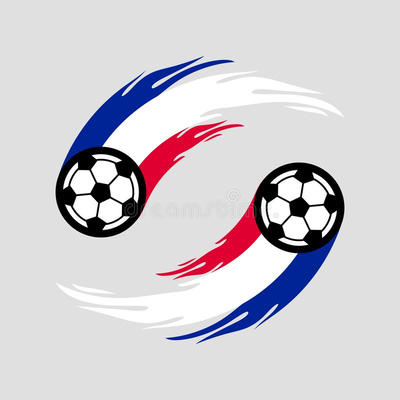 Soccer or football with fire tail in France flag. royalty free illustration