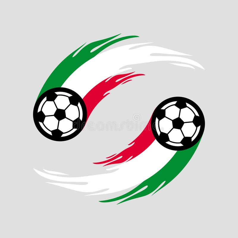 Soccer or football with fire tail in Italy flag. royalty free illustration