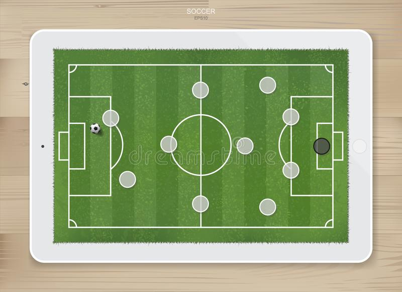 Soccer football game formation tactics on touch screen tablet background. Soccer football game formation tactics on touch screen tablet background with wood royalty free illustration