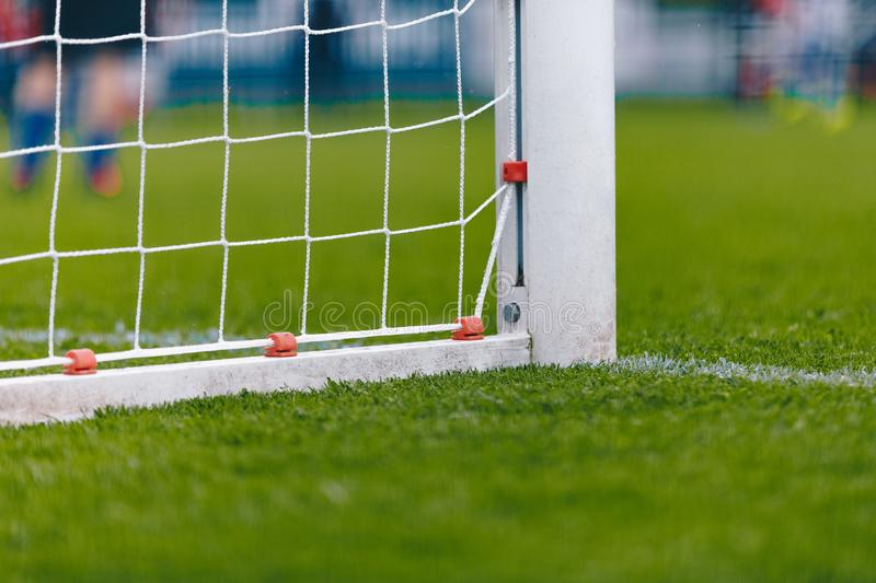 Soccer Football Goal With Net. Football Pitch Field With Fresh Green Grass royalty free stock photo