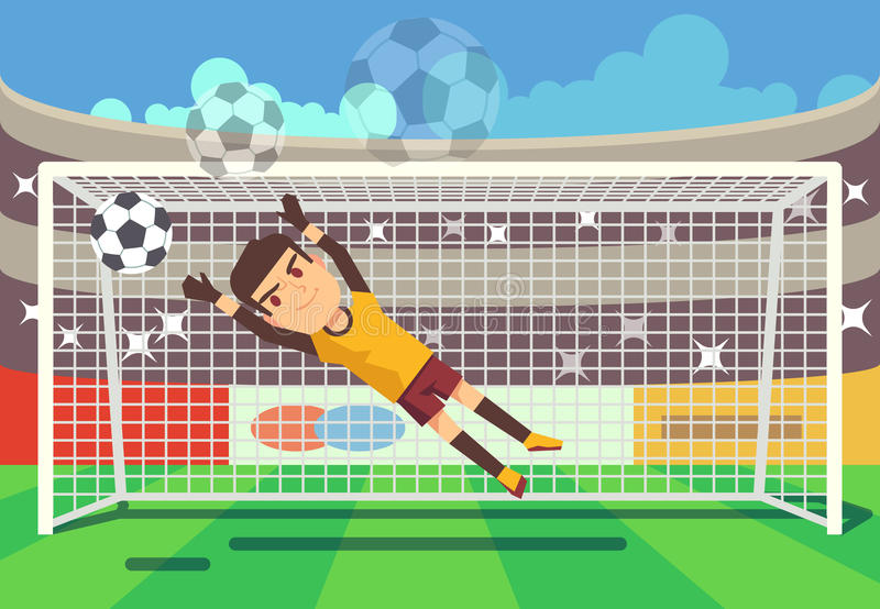 Soccer, football goalkeeper catching ball in goal vector illustration. Sport player on stadium vector illustration