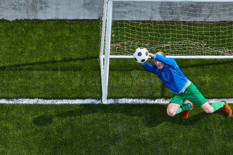 Download Soccer Football Goalkeeper Making Diving Save Stock Image - Image of goalie, grass: 92307551