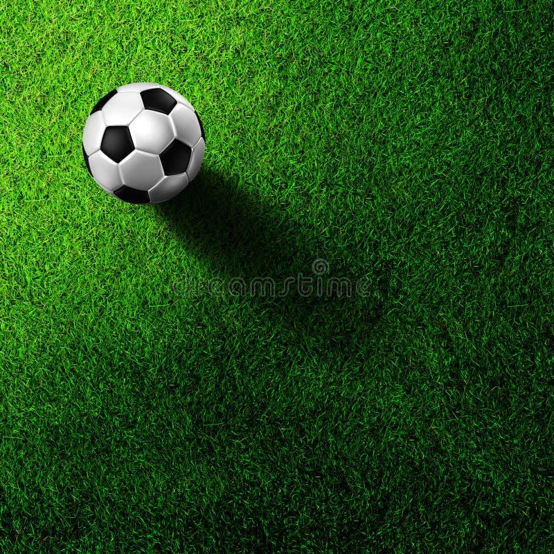 Soccer football on grass field royalty free illustration