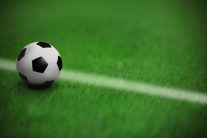 Download Soccer Football On Green Grass In Stadium  With Wh Stock Photo - Image: 26928434