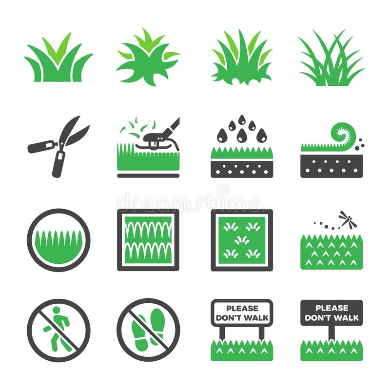 Grass icon set vector and illustration stock illustration