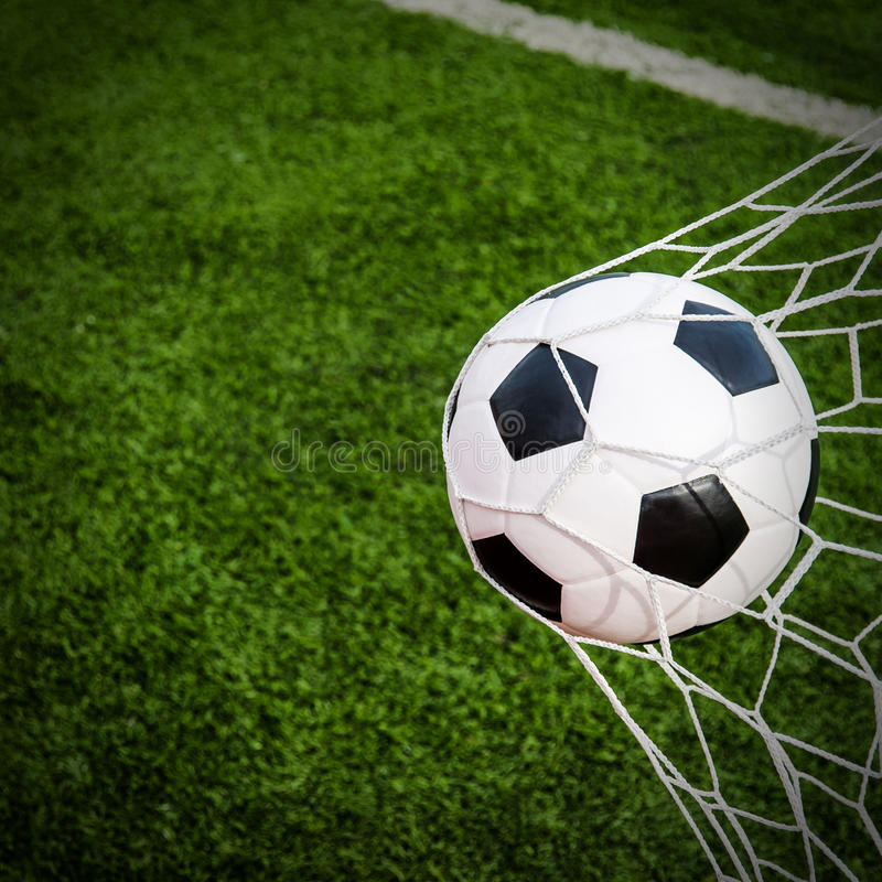 Free Soccer Football In Goal Net With Green Grass Field. Stock Photo - 96877770