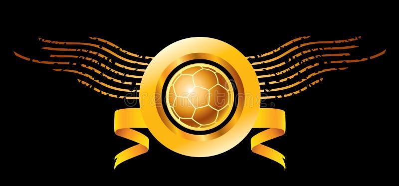 Soccer or football logo. A soccer or football logo in golden yellow stock illustration