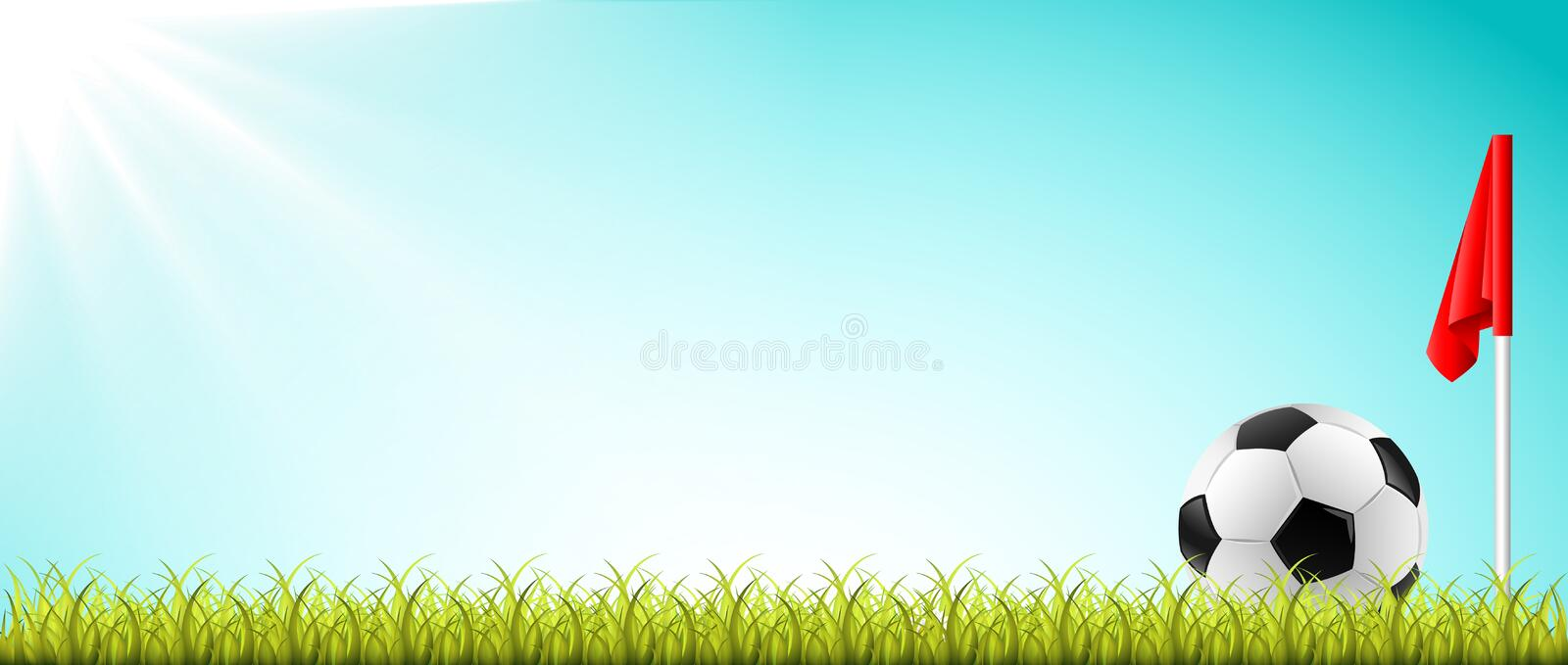 Soccer football lying on the lawn with corner banner and sunny blue sky vector. Design royalty free illustration