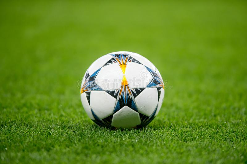 Football Soccer Ball on grass royalty free stock image
