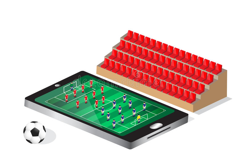 Soccer football match on mobile. Feeling as watching in stadium vector illustration