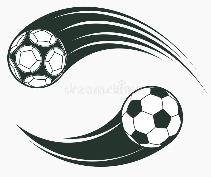 Soccer football moving swoosh elements, dynamic sport sign. Vector. Soccer football moving swoosh elements, ball with motion trails, dynamic sport sign, sporting vector illustration