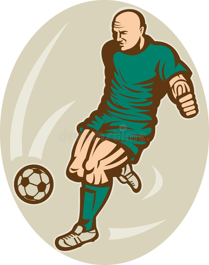 Soccer football player kicking stock illustration