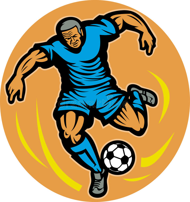 Soccer football player kicking royalty free illustration