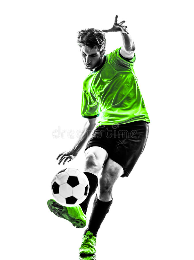 Soccer football player young man kicking silhouette stock photos